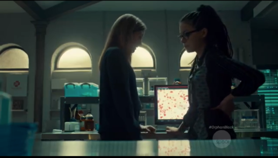 Cosima and Delphine in the lab